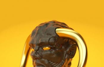 长着黄金材质牛角的怪物C4D模型