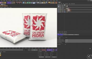 C4D雕刻化肥面粉包装袋建模渲染教程