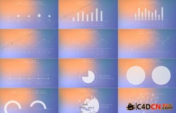 现代简约的数据统计图形元素动画集AE工程