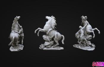 C4D模型 驯马的男人雕塑人物模型