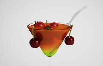 樱桃草莓果汁鸡尾酒饮品模型高脚杯C4D模型