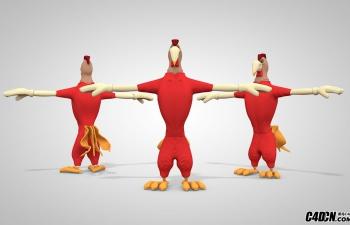 C4D卡通拟人化公鸡模型