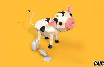 [C4D基础]低边型奶牛
