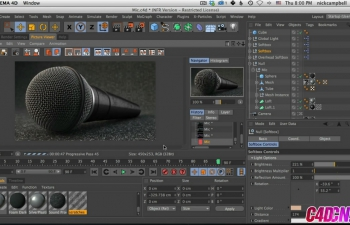 Light,Texture,并在Cinema 4D中渲染一个麦克风C4D教程 Light, Texture, And Render A Microphone in Cinema 4D