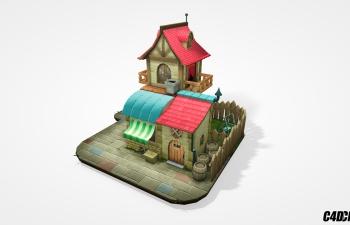 C4D卡通住宅别墅房子模型 Hand-painted Diorama