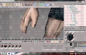 C4D教程 人物手臂手指骨骼绑定教程