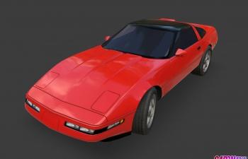 雪佛兰Corvette跑车汽车C4D模型 chevrolet Corvette 1995