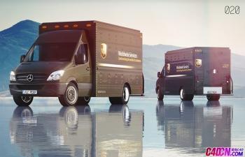 C4D模型 奔驰厢式货车VPS快递运输车模型