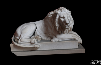 C4D雕塑模型 卧着的石狮子模型 Recumbent lion