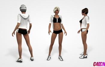 C4D模型 短发运动鞋美女模型