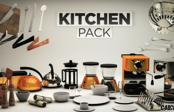 C4D预设 家用厨房模型包预设 The Pixel Lab – Kitchen Pack,3D模型