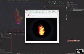 C4D布料动力学模拟卡通材质火焰燃烧效果教程