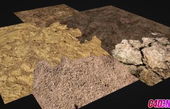 5組寫實地形地面泥土路面材質C4D預設