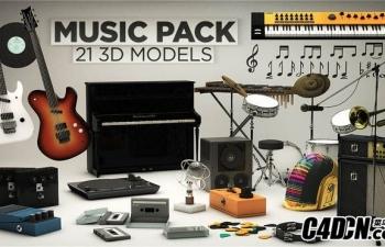 20个音乐主题的cinema 4D 模型