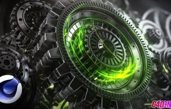 Octane渲染器机械齿轮机器运转AE栏目包装合成C4D教程