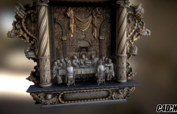 C4D模型 Orebygard的祭坛雕塑模型 Altarpiece from Orebygard