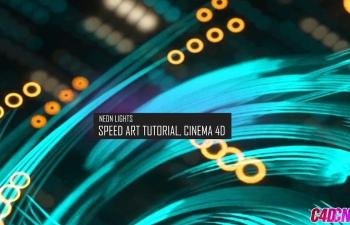 C4D教程 Octane render制作粒子跟踪霓虹灯效果