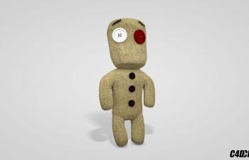 C4D模型 扣子小人布偶玩具模型