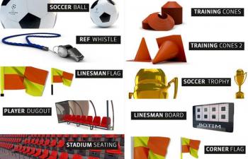 C4D球场模型包 体育用品模型