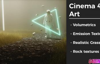 Octane渲染器宇航员夜晚环境灯光草地科幻风格教程
