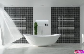Octane渲染器室内风吹窗帘浴室建模材质渲染C4D教程