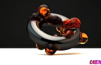 C4D教程 玻璃琉璃材质熔岩动态泡泡戒指教程