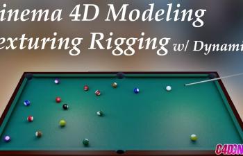 C4D教程 动力学台球桌球打散建模制作教程