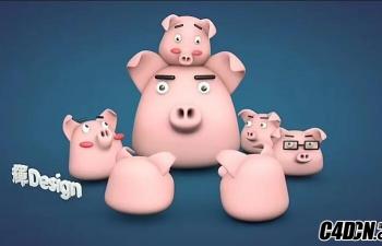 C4D模型 卡通猪猪 小猪