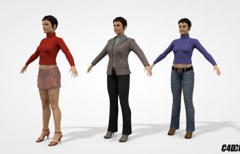 C4D模型 办公室青年短发女子女性模型 三组合 含绑定
