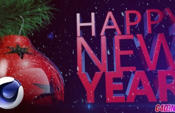 C4D教程 欢迎新年节日彩球松树枝建模渲染教程