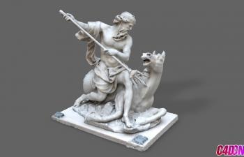 C4D模型 海神雕塑人物模型 卢浮宫