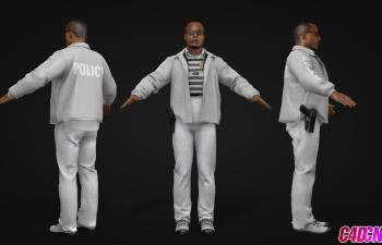 黑人警员警察C4D模型