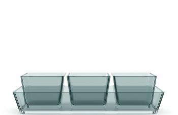 C4D模型 蓝色方形玻璃杯方杯水杯模型
