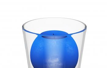 C4D模型 装在玻璃杯子里的球形蓝色蜡烛模型