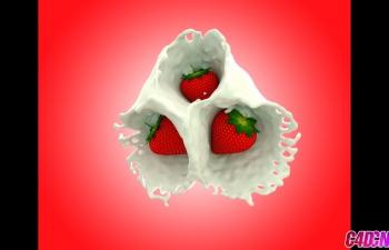 C4D草莓建模材质酸奶牛奶材质液体碰撞C4D教程