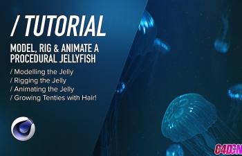 C4D海底环境生物发光水母动画建模材质渲染C4D教程
