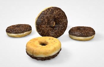 C4D模型 高低甜甜圈面包食品模型 Donut bread food C4D model