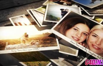 照片堆叠抛散开爱恋回忆相册展示AE模板