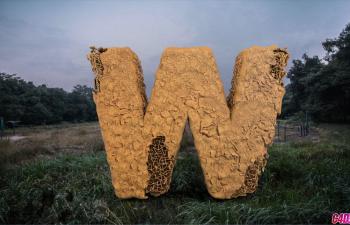 C4D工程 钢筋水泥字体W