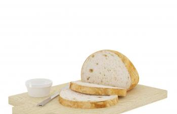 C4D模型 面包切片奶酪叉子案板模型