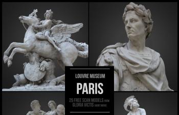 巴黎卢浮宫雕塑雕像扫3D描模型合集