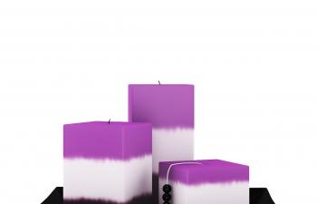 C4D模型 方形分色蜡烛盘子模型