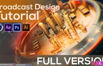 C4D教程 电视栏目包装片头三维摄像机动画打光材质渲染AE合成教程