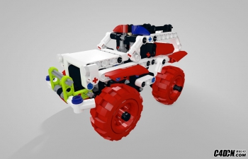 C4D乐高现代积木玩具车模型