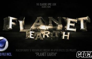 C4D+AE模板-3D文字旋转动画游戏电影预告宣传片标题 Planet Earth