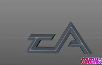 C4D教程 EALOGO秃体字锥体字文字设计建模教程