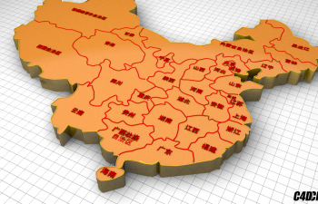 C4D模型 全省份三维中国地图(含省份名字)