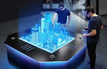 C4D工程 简单全息风格科技感未来城市VR虚拟现实工程模拟