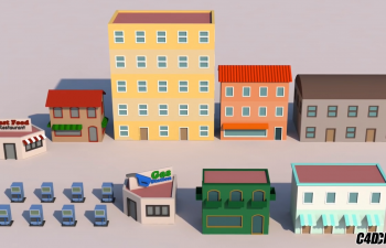 C4D教程 Low Poly低面模风格建筑建模教程(下)Udemy - Low Poly Modeling in Cinema 4D - Vol 2 3D Cars a