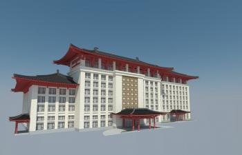 中式办公楼模型